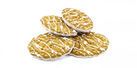 Печенье сахарное Малиновое частично глазированное белой глазурью 3 кг